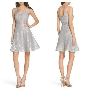 Sequin Hearts Illusion Waist Lace Fit/Flare Dress
